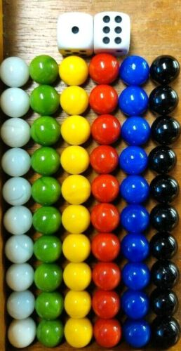 60 Solid Color Replacement Marbles Set Chinese Checker Game GLASS 14mm & 2 Dice