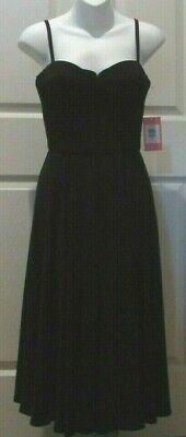 New NWT Isaac Mizrahi New York BLACK DRESS 10 SWEETHEART NECKLINE Straps