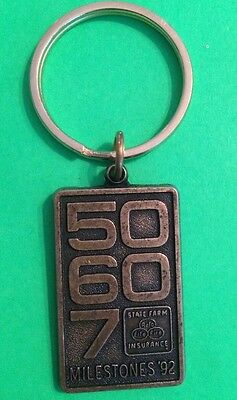 State Farm Insurance 50 60 70 Milestones 92 Keychain Key Ring 1992