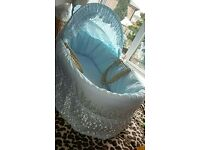 REDUCED £25 Beautiful Soft Blue Moses Basket And Rocking Stand As New.