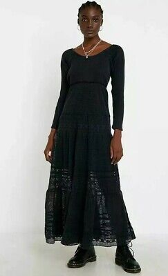 New FREE PEOPLE EARTH ANGEL L Midi/maxi Dress TIERED Black Long Sleeves Lace NWT