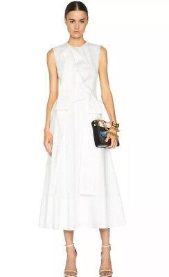 Roksanda Aphra Oragami White Poplin Sleeveless Midi Dress UK 8 US 4