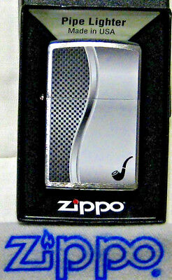 ZIPPO  PIPE Lighter ALL CHROME BRUSHED Design NEW Made in the USA  Mint In Box