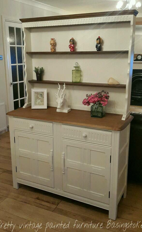 Painted Vintage Priory Oak Welsh Dresser Sideboard Cream F B Eggshell Paint Shabby Chic In