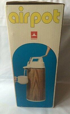 Everest Airpot 1.9l Hot Cold Coffee Tea Dispenser Wood Grain Pattern Box Japan