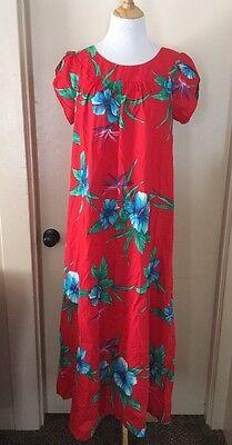 Vtg 60s 70s Hukilau Fashions Red Floral Hawaiian Maxi Dress Tiki Luau 12 Hawaii