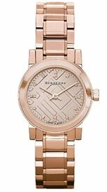 Burberry Rose Gold Ladies Watch BNIB UK Round Dial Diamonds RRP £595 Mothers Day
