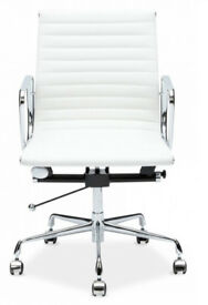 12 EAMES RIBBED WHITE PREMIUM QUALITY OFFICE CHAIRS BOARDROOM CHAIRS FREE DELIVERY