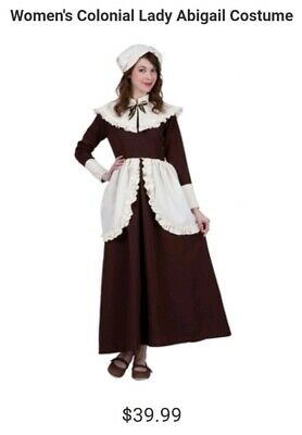 Adult Women's Pilgrim Colonial Dress Costume Brown 8/10 Medium Brown Cloth Hat](Womens Colonial Clothing)