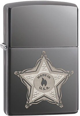 Zippo Made In The USA Badge Black Ice Lighter Model 28360 New
