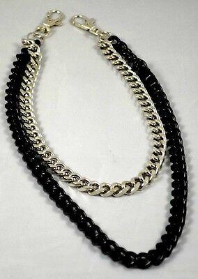 """Wallet Pocket 2Lines Chain+ Trigger Belt Pocket Snap Hook-Curb 19""""-black steel"""
