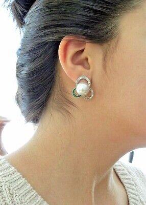 Designer 14mm White South Sea Cultured Pearl Diamond Emerald Huggie Earrings 18K Designer South Sea Earrings