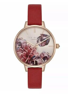 Ted Baker Ladies Watch Floral Gold Dial & Red Strap TE50005007 Women's ()