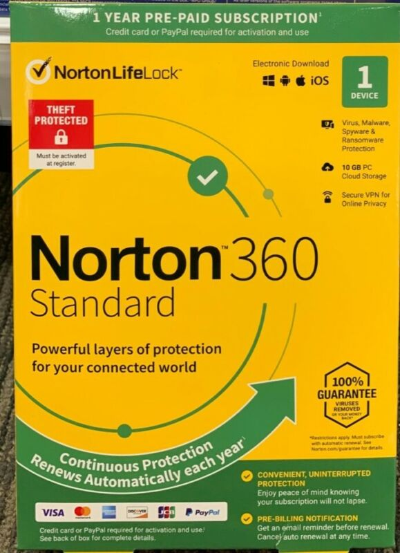 Norton 360 Standard for 1 device and 12 months