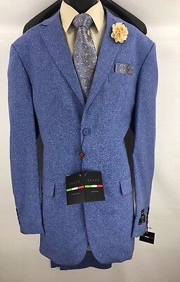 Men's Lucci Blue 2 Button Suit Single Breasted Flat Front Unfinished Pants 44L