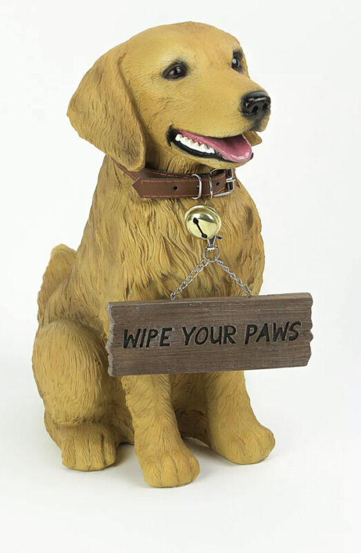 Harley the Golden Retriever Dog Realistic Lifelike Statue with Reversible Sign