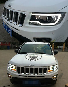 HID Headlights For 2011-2013 Jeep Grand Cherokee Front Bumper LED Bi-xenon Lamps