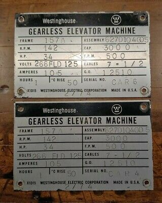 2 Vintage Westinghouse Elevator Machine Aluminum Dataidentification Badgetags