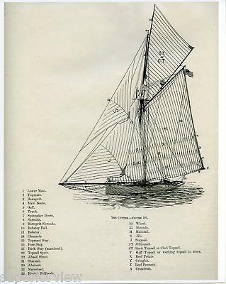 Cutter Ship Sailing Diagram Vintage Sailboat Old Time Ship Sail Rigging 1894