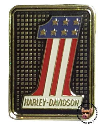 HARLEY DAVIDSON USA 1 VEST PIN PATRIOTIC RED WHITE BLUE JACKET PIN BRASS FINISH