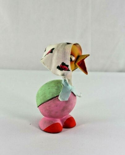 Vintage German Easter Bobble Head Chick Paper Mache Candy Container