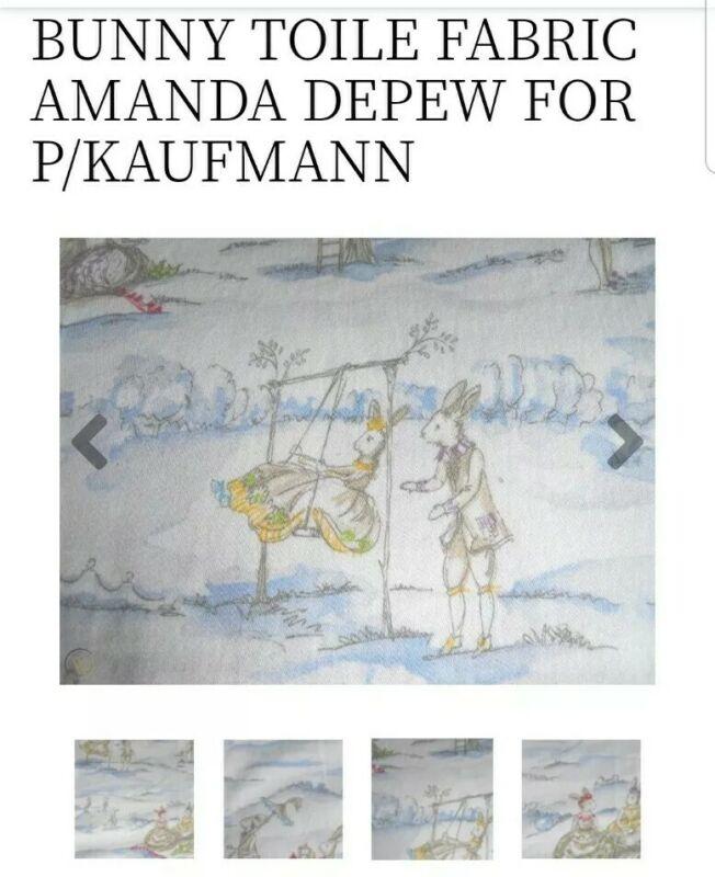 Amanda Depew for P Kaufmann, French Rabbit Tea Party Toile Heavy Custom Drape