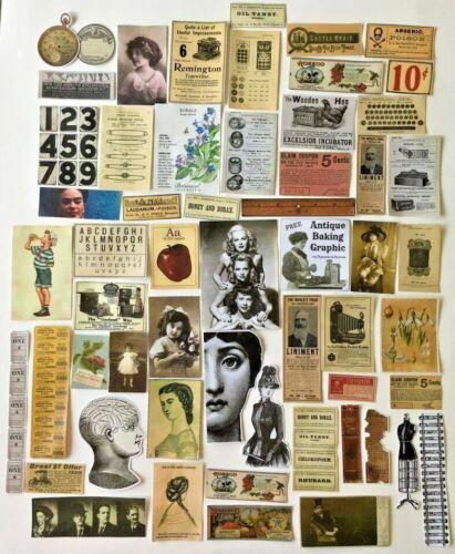 Junk Journal Ephemera Collage Art Scrap Pack STICKERS Lot 35 pc Repro Ephemera