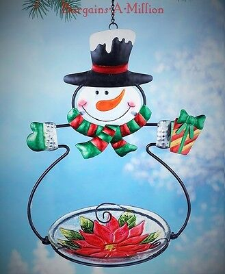 Snowman Bird Feeder Seed Holder Outdoor Hanging Christmas Winter