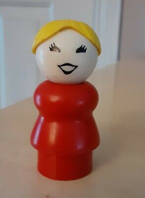 Vintage Fisher Price little people red woman/mom yellow/blonde hair/ponytail