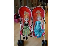 Toy double buggy/ pushchair with frozen dolls Anna & Elsa