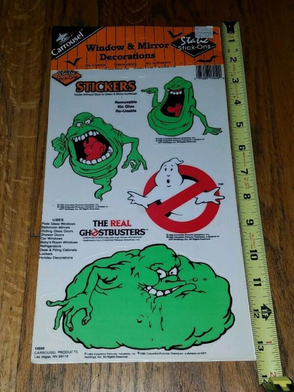 RARE 1984 Static Stick-Ons Ghostbusters Slimer Window Clings NEW Halloween NOS