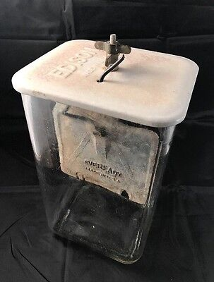 Antique Edison Cell Battery Jar With EVEREADY Battery RARE