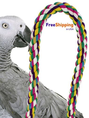 1675 36-Inch Parrot Rope Perch Bird Toy Amazon African Grey Macaw Cockatoo Pet