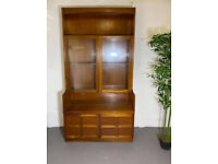 Mid Century Nathan Furniture Double Glass Door Teak Bookcase Unit Vintage Retro *FREE DELIVERY*