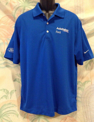 Nike Golf Mens Autonation Ford Employee Shirt Size M Blue Dri Fit Embroidered