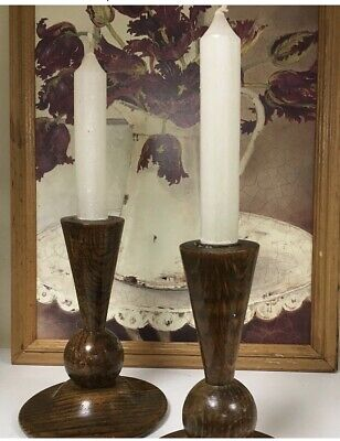 Art Deco Wooden Candlesticks ... Great Shape