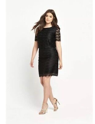 Size 22 Uk New So Fabulous Double Layer Lace Dress Short Sleeve Black Plus Size for sale  Shipping to Ireland