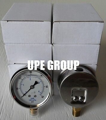 10 Pack Liquid Filled Pressure Gauge Hydraulics 2.5 Dial 60 Psi Lower Mnt 14