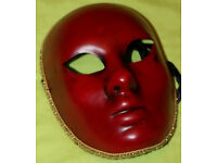 Venetian masquerade mask (unisex) full faced, dark red, two silk stripes hand painted