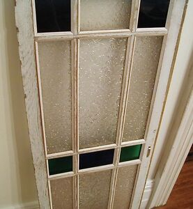 Window with green/blue/red flash glass and patterned glass