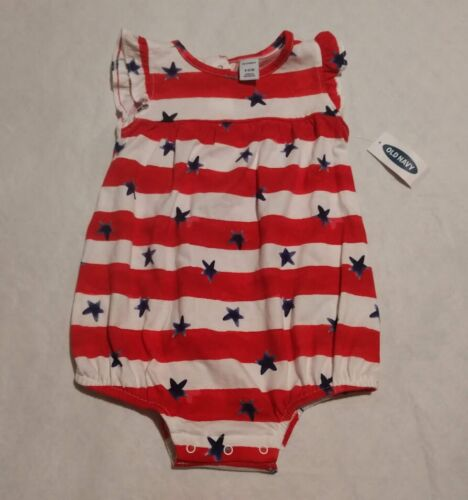 NWT Old Navy Stars & Stripes Bubble Short Romper One Piece 6-12 Months Baby Girl
