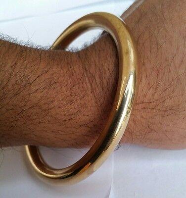 Stunning 22 Ct. GOLD LOOK CHUNKY BRASS Kara Round Smooth Sikh Hindu Bracelet C5