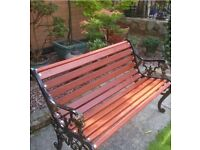 Refurbished vintage garden bench with Lion heads cast iron ends