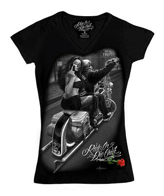 David Gonzales Art DGA Ride or Die Chick Ride It Ladies V-Neck T Tee Shirt (Its Chick)