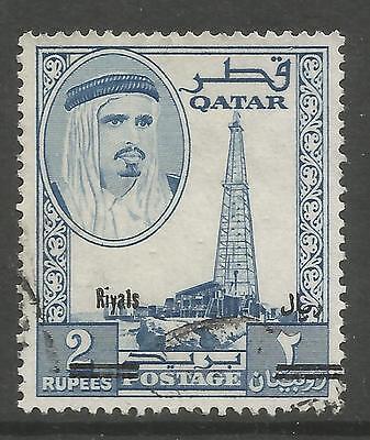 QATAR. 1966. New Currency 2 Riyal on 2 Rupee Ultramarine.  SG: 149. Fine Used.