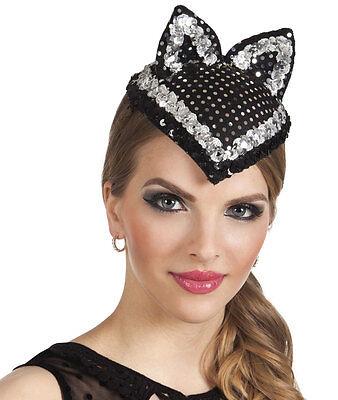 HALLOWEEN BLACK SPARKLY CAT KITTY HAT FASCINATOR EARS LADIES GIRLS COSTUME NEW