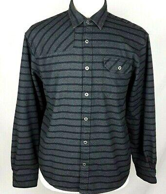 HOWLER BROS Mens MEDIUM Charcoal Gray Black Striped Long Sleeve Flannel Shirt