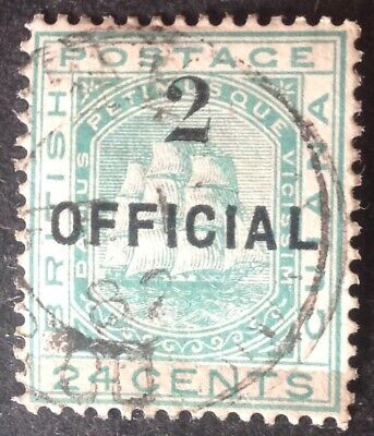 British Guiana 1881 2 on 24 cent green official stamp vfu
