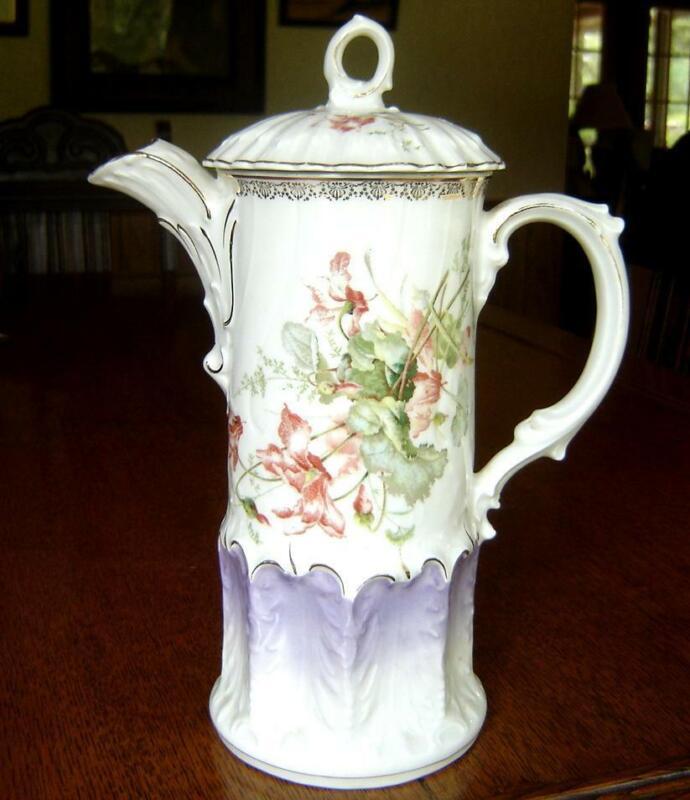 CHOCOLATE  coffee POT Gorgeous KPM  Krister, Silesia  - 1890-95 Mark - EX