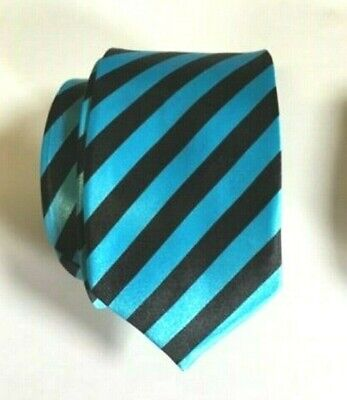 Hen Night Party Sexy School Girl Tie Shiny Blue Stripe Dress Up New Outfit  ()